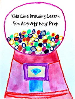 Kids Drawing Lesson: Bubble Gum Machine Directed Line Drawing Easy Prep Fun