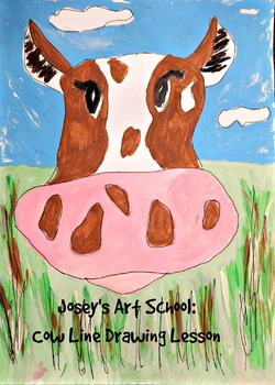 Kids Drawing Lesson: Drawing a Cow Farm Lesson Art and Literacy Idea Art Sub
