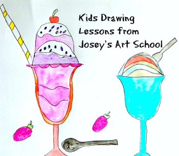 Kids Drawing Lesson Ice Cream Sundaes Directed Line Drawing Series