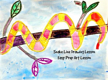 Kids Drawing Lesson: Snake Directed Line Drawing Series Easy Prep Fun Activity