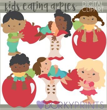 Kids Eating Apples Clipart