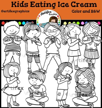 Kids Eating Ice Cream. Color and B&W