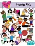 Kids Exercising Clip Art