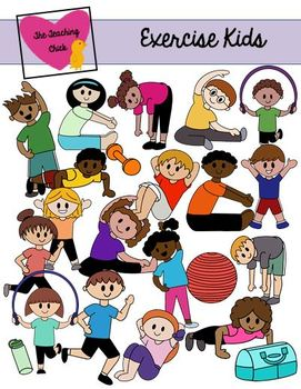 Kids Exercising Clip Art