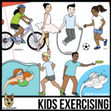 Kids Exercising Clip Art | Kids or Teens Playing Sports Clipart