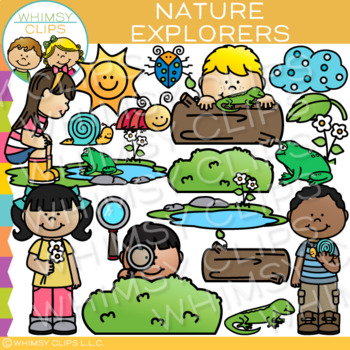 Kids Exploring Nature Clip Art