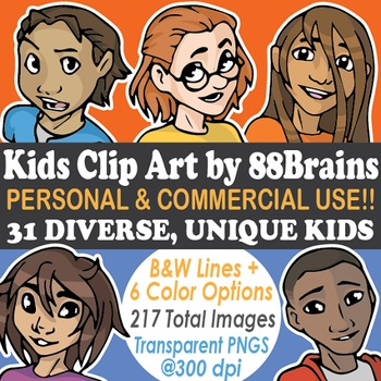 Kids Faces Clip Art - Commercial and Personal Use