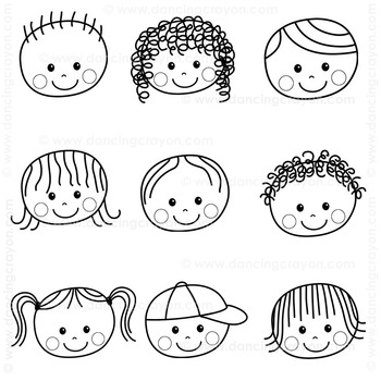 Kids Faces - Clip Art Kids