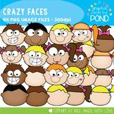 Crazy Kids Faces Clipart