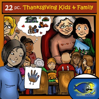 Kids & Family Thanksgiving Clip Art-22pc. BW & Color