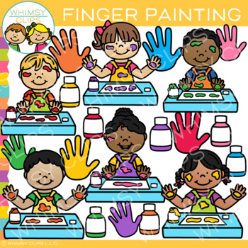 Kids Finger Painting Clip Art