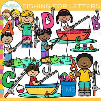 Kids Letter Fishing Clip Art