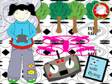 Kids Flying Drones Clipart (Personal & Commercial Use)