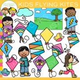 Spring Kids Flying Kites Clip Art