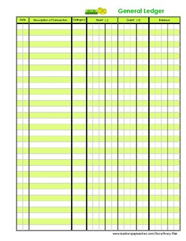 Kids General Ledger Accounting Finance Journal Log Green Color Income Expense