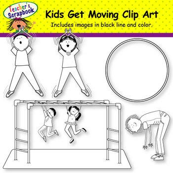 Kids Get Moving Clip Art