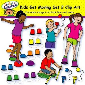 Kids Get Moving Set 2 Clip Art