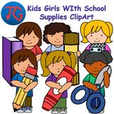 Kids Girls with School Supplies ClipArt