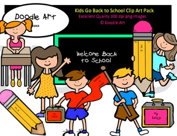 Kids Go Back to School Clipart Pack