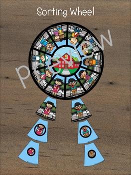 Kids Going to School! Matching Wheel, Clip to match (Preschool)