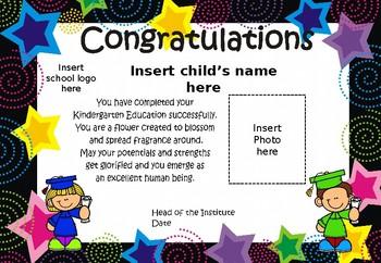 Graduation Certificates Kindergarten Preschool Editable