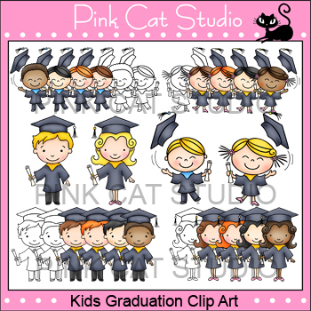 Kids Graduation Clip Art - Personal & Commercial Use