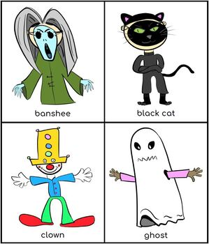 Kids' Halloween Costume Flashcards / Colouring Pack (UK and US)