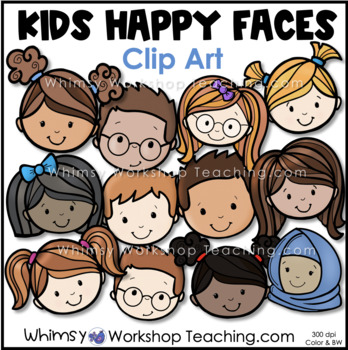 Kids Happy Faces 1 Clip Art - Whimsy Workshop Teaching