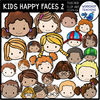 Kids Happy Faces 2 Clip Art - Whimsy Workshop Teaching