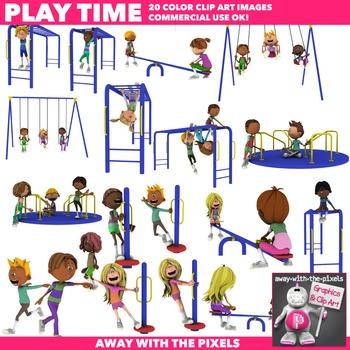 Kids Having Fun Playground Recreation Clipart