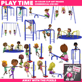 Kids Having Fun Playground Recreation Clipart