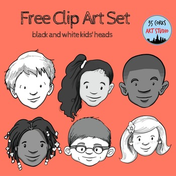 Kids Heads Clip Art - Freebie!