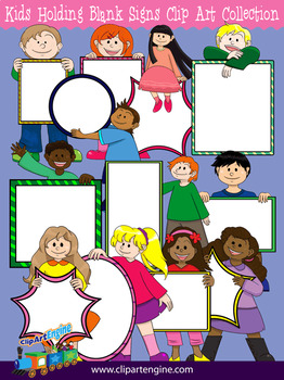 Kids Holding Blank Signs Clip Art Collection