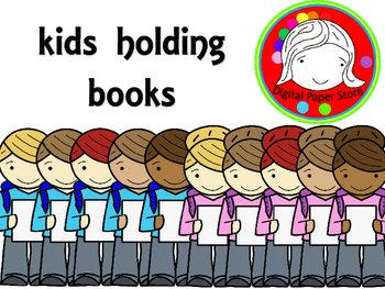 Kids Holding Books Clipart (Personal & Commercial Use)