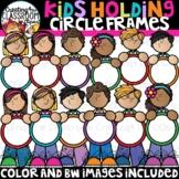Kids Holding Circle Frames Clipart {Kids Clipart}