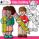 Kids Holding Pencils Clip Art {Great for Back to School, Posters, & Brag Tags}