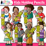 Kids Holding Pencils Clip Art: Back to School Graphics {Gl
