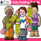 Kids Holding Pencils Clip Art {Great for Back to School, P