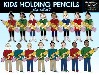 Kids Holding Pencils Clip Art Set