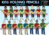 Kids Holding Pencils Clip Art Set