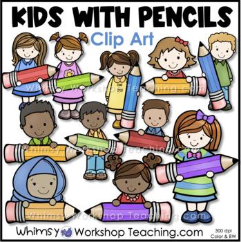 Kids Holding Pencils Clip Art - Whimsy Workshop Teaching