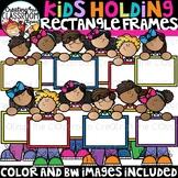 Kids Holding Rectangle Frames Clipart {Kids Clipart}