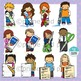 Kids With Oversized School Supplies Clipart