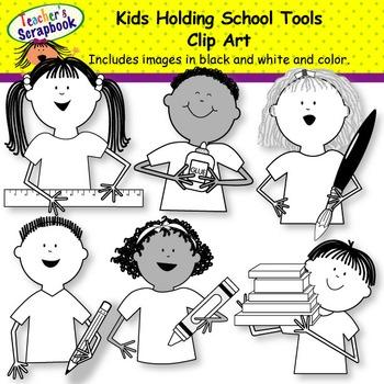Kids Holding School Tools Clip Art