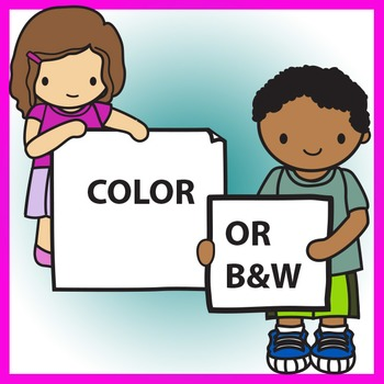 Kids Holding Signs & Banners Clip Art