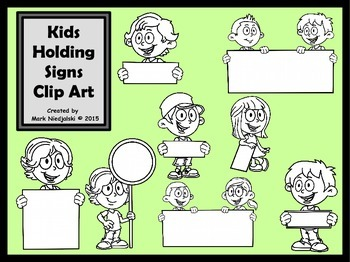 Kids Holding Signs Clip Art