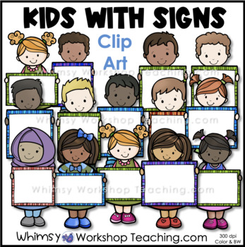 Kids Holding Signs 1 Clip Art