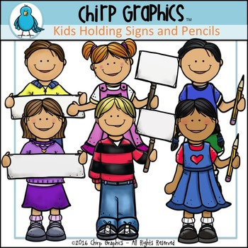 Kids Holding Signs and Pencils Clip Art Set - Chirp Graphics