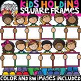 Kids Holding Square Frames Clipart {Kids Clipart}