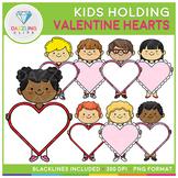 Kids Holding Valentine Heart Signs Clip Art